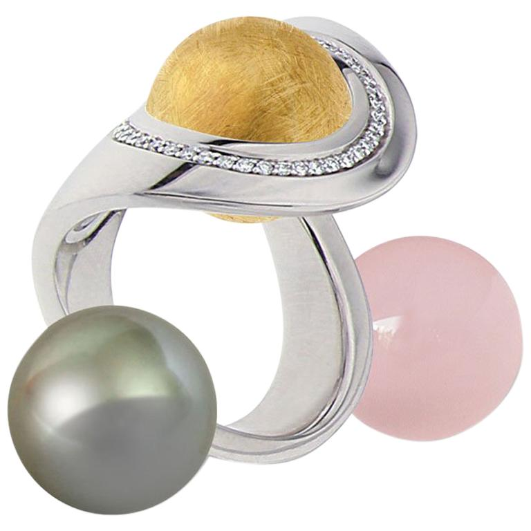 Certified Ring White Gold with Diamonds and a Set of Three Interchangeable Gems For Sale