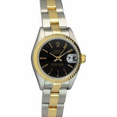 Certified Rolex 18 Karat Gold and Stainless Datejust Black Tapestry Stick 69173