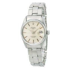 Certified Rolex Date 6534 Men's Automatic Watch Silver Dial Stainless Steel