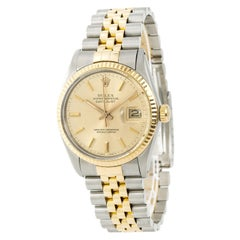 Certified Rolex Datejust 16013 Men's Automatic Watch Champagne Dial Two-Tone