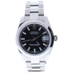 Certified Rolex Datejust 178240 with Stainless-Steel Bezel and Black Dial