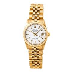 Certified Rolex Datejust 68278 Midsize 18 Karat Yellow Gold Jubilee Band Women