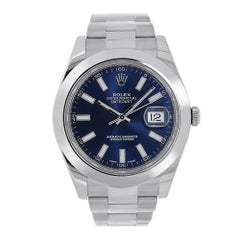 Certified Rolex Datejust II Stainless Steel Blue Index Dial Watch 116300