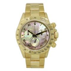 Certified: Rolex Daytona 18K Yellow Gold 40mm Dark MOP Dial Watch 116528