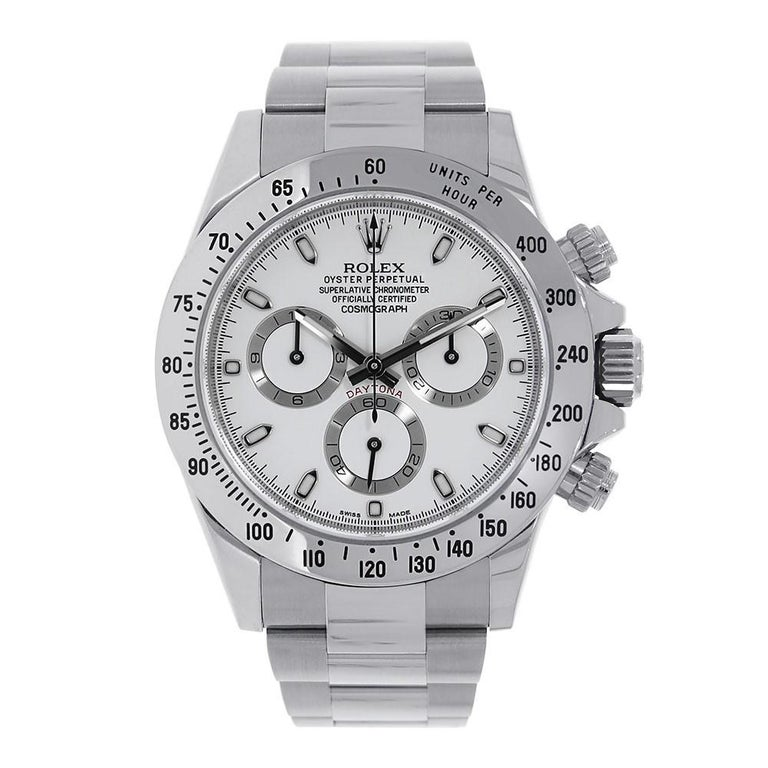 Certified Rolex Daytona Stainless Steel White Dial Watch 116520 For