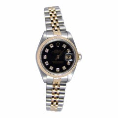 Certified Rolex Ladies 18 Karat Gold and SS Datejust Black Diamond 69173