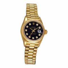 Certified Rolex Ladies 18 Karat Gold Datejust President Black Diamond 69178