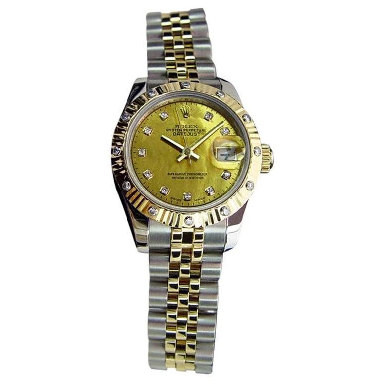 985e0d33737 Certified Rolex Ladies Datejust 18 Karat Gold/SS Gold 12 Diamond Bezel  179313 For Sale