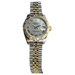 Certified: ROLEX Ladies DateJust 18kt Gold/SS MOP Roman Dial 179313