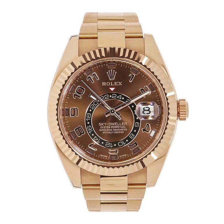certified rolex sky dweller 18 karat everose gold watch. Black Bedroom Furniture Sets. Home Design Ideas