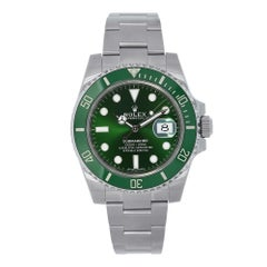 Certified Rolex Submariner Stainless Steel Green Ceramic Watch 116610LV