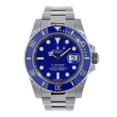 Certified Rolex Submariner White Gold Blue Ceramic Watch 116619