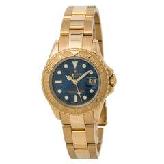Certified Rolex Yachtmaster 169628 Women's Automatic Watch Blue Dial 18 Karat YG