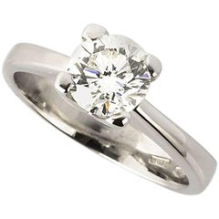 Certified Round Brilliant Cut Diamond Engagement Ring 0.91 Carat