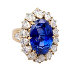 Certified Royal Blue 17.38 Carat Sapphire and Diamond Ring