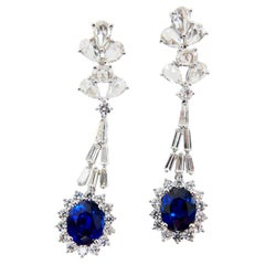 Certified Royal Blue Sapphire 3.26 & 3.17ct Drop Earrings, New Rose Cut Diamonds