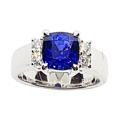 Certified Royal Blue Sapphire with Diamond Ring Set in Platinum 950 Settings