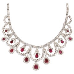 Certified Ruby and Diamond Necklace