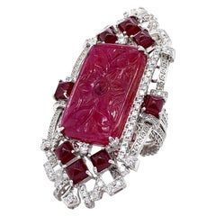 Certified Ruby and Diamond Ring with Detachable Pendant in 18 Karat Gold