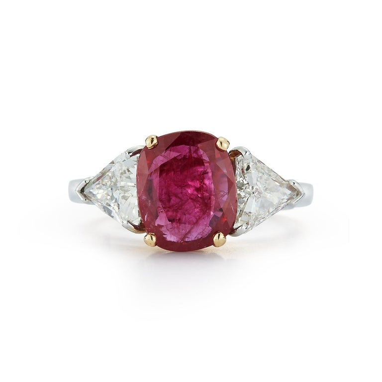 Oval Cut Certified Ruby and Diamond Three-Stone Ring For Sale