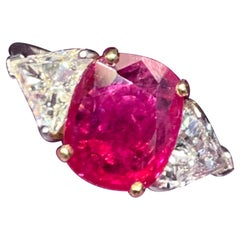 Certified Ruby and Diamond Three-Stone Ring