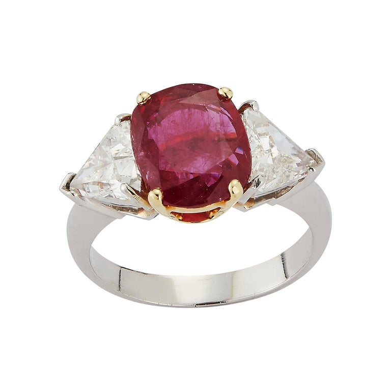 Certified Ruby and Diamond Three-Stone Ring For Sale