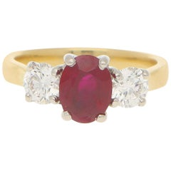 Certified Ruby and Diamond Triolgy Ring in 18 Karat Yellow and White Gold