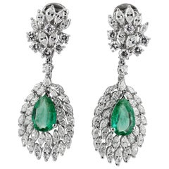 Certified Ruby, Colombian Emerald and Diamond Changeable Drop Clip on Earrings