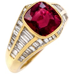 Certified Ruby Diamond 18 Karat Gold 3.49 Carat Cushion Baguette Ring