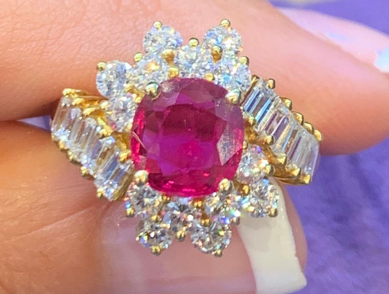 AGL Certified Ruby & Diamond Cocktail Ring, set in 18K Yellow Gold Ruby Weight: 4.99 Cts Diamond Weight: 1.20 Cts  Ring Size: 6.75 Re-sizable Free of Charge