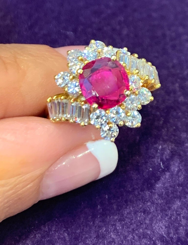 Round Cut Certified Ruby and Diamond Cocktail Ring For Sale
