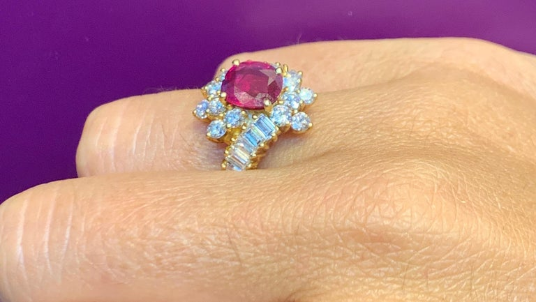 Certified Ruby and Diamond Cocktail Ring For Sale 1