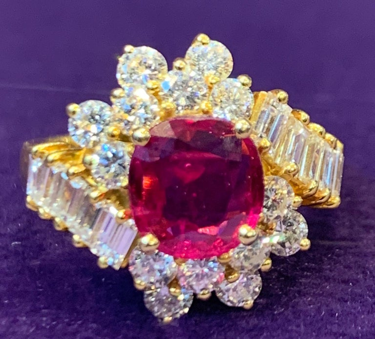 Certified Ruby and Diamond Cocktail Ring For Sale 3