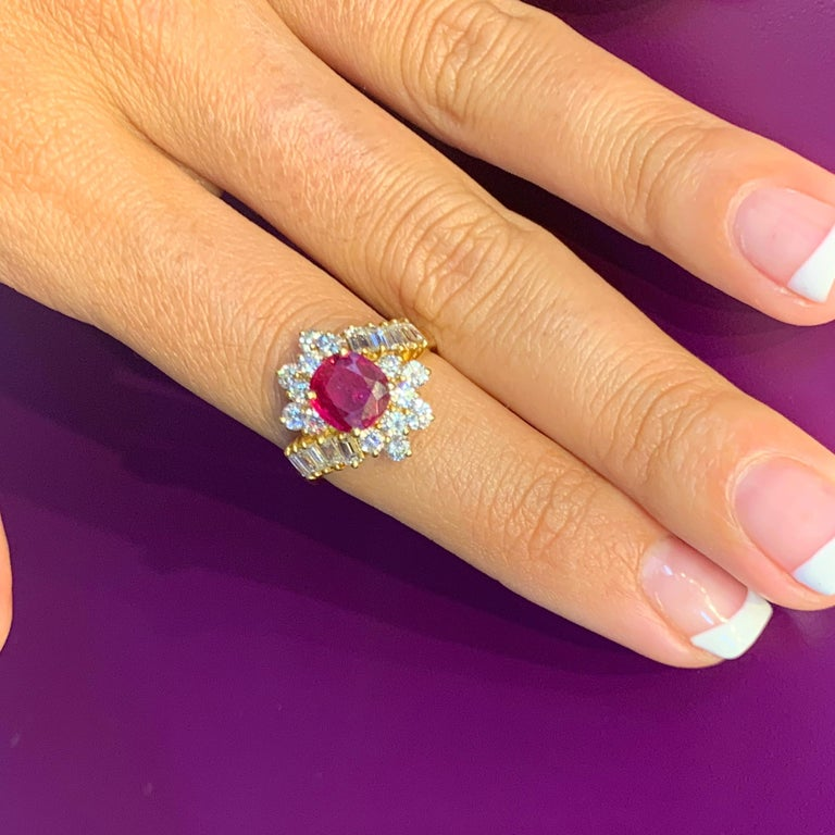 Certified Ruby and Diamond Cocktail Ring For Sale 4