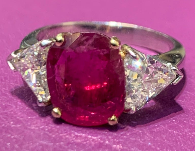 Women's Certified Ruby and Diamond Three-Stone Ring For Sale