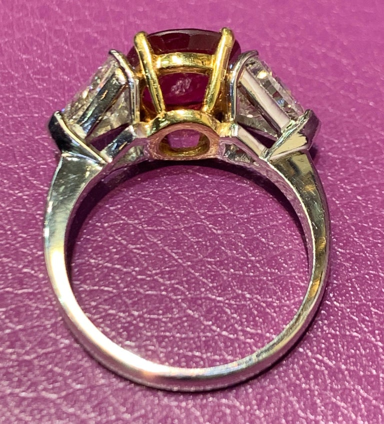Certified Ruby and Diamond Three-Stone Ring For Sale 1