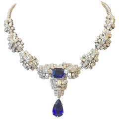 Certified Sapphire and Diamond Drop Necklace