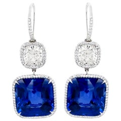 Certified Sapphire Diamond Platinum Earrings