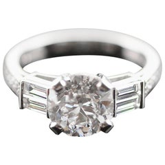 Antique Old European Cut Certified Diamond 2.37 ct F VS2 Ring in Platinum