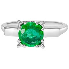 Certified Solitaire 2.00 Carat Emerald and Platinum Wedding Ring
