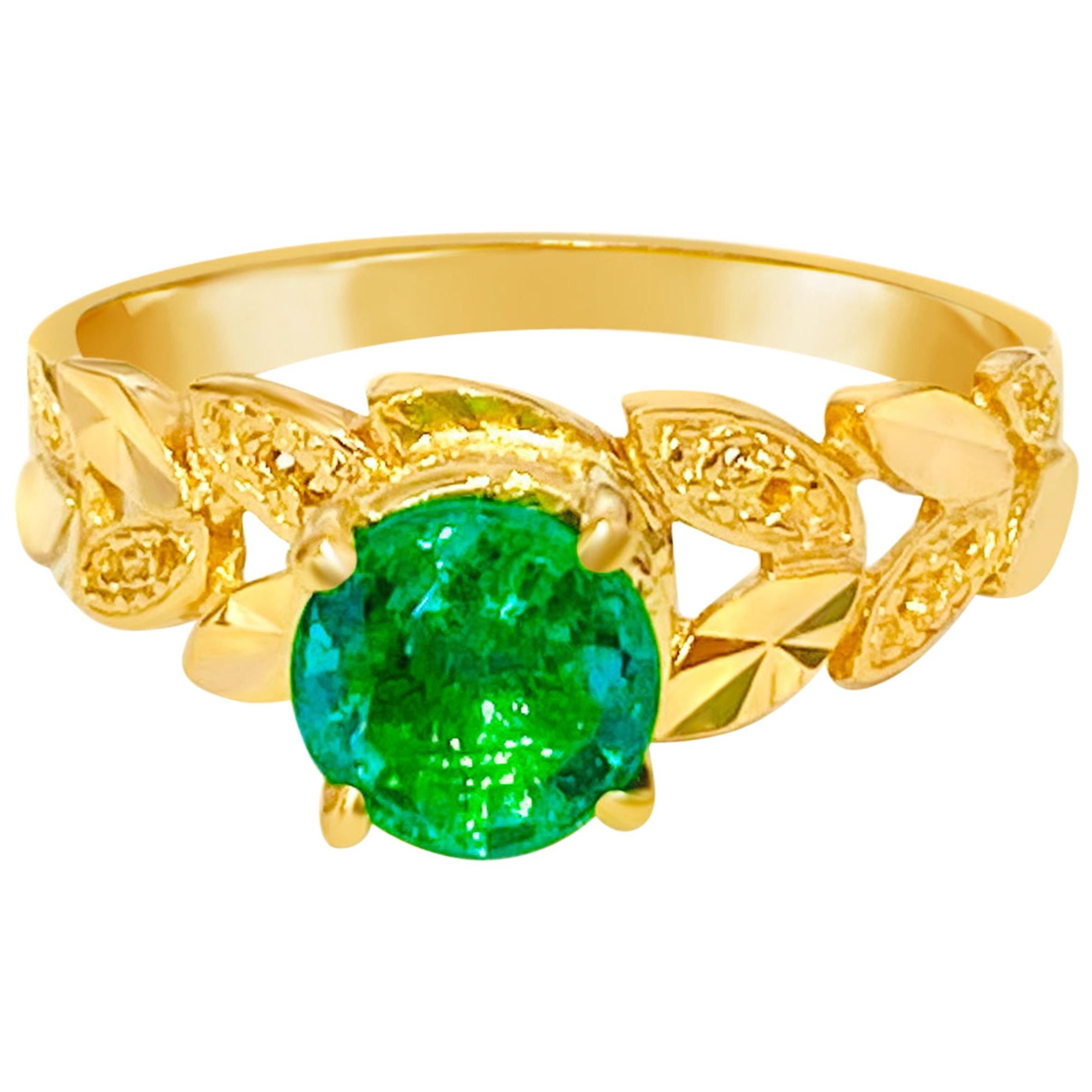 GIA Certified 1.20 Carat Solitaire Emerald Engagement Ring in Yellow Gold