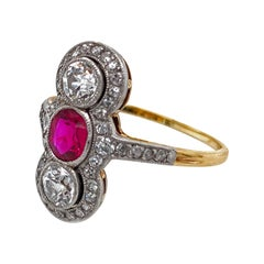 Certified SSEF Burma No Heat Ruby and Platinum Diamond Ring