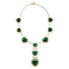 Certified Swiss Lab Colombian Emerald Yellow Gold Diamond Necklace Stambolian
