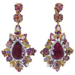 Certified Tourmaline Diamond Gemstone Platinum Drop Earrings