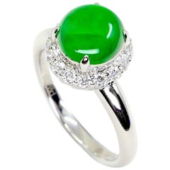 Certified Type A Icy Apple Green Jadeite Jade and Diamond Ring, Super Glow