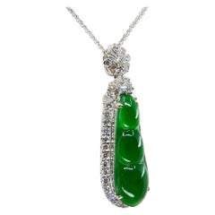Certified Type A Icy Imperial Jade Peapod & Diamond Drop Pendant Necklace, Glows