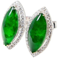 Certified Type A Jadeite and Diamond Earrings Imperial Jade, Spinach Green Color
