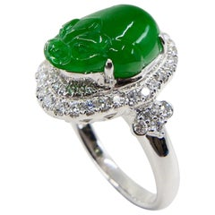 Certified Type A Jadeite Jade and Diamond Cocktail Ring, Best Imperial Green