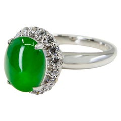 Certified Type A Jadeite Jade and Diamond Cocktail Ring, Close to Imperial Jade