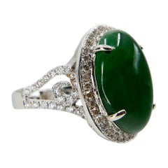 Certified Type A Jadeite Jade and Diamond Cocktail Ring, Intense Green Color